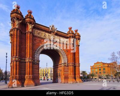 Arc de Triomf, Arco de Triunfo, Triumphal Arch, Barcelona, Catalonia, Spain - Stock Photo