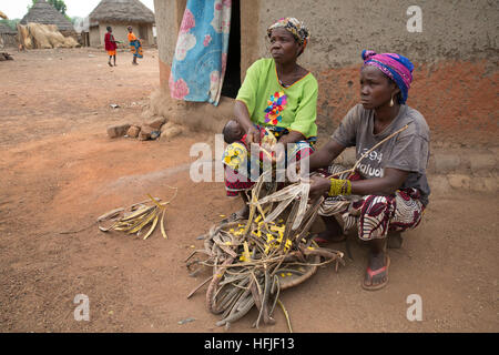 Koumban village, Guinea, 2nd May 2015; Saran Condé, 40, and Nafina Dioubaté ,78,  shelling Néré fruit. - Stock Photo