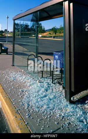 Vandalism at Bus Stop, Vandalized Bus Shelter - Broken Glass Shards on Pavement - Stock Photo