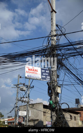 Typical Overhead Electric Power Cables on a Street in Kathmandu, Nepal, Asia. - Stock Photo