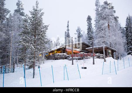 Log cabin restaurant, Salla - Stock Photo