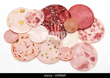 Sausage varieties, cold cuts - Stock Photo