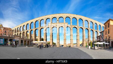 Roman aqueduct bridge, Segovia, Spain UNESCO - Stock Photo