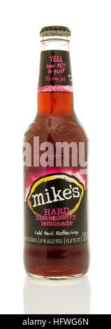 Winneconne, WI - 21 December 2016: Bottle of Mike's hard black cherry lemonade on an isolated background. - Stock Photo