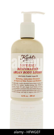 Winneconne, WI - 21 December 2016: Bottle of Kiehl's superbly restorative argan body lotion on an isolated background. - Stock Photo
