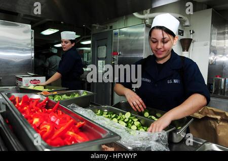 110628-N-SB672-002 ARABIAN SEA (June 28, 2011) Culinary Specialist Seaman Meagan Taylorburns, from Bakersfield, - Stock Photo
