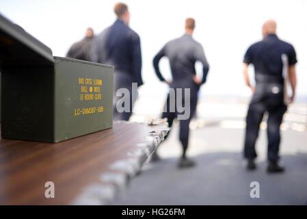 150416-N-OK605-076 PHILIPPINE SEA (April 16, 2015) - Sailors attached to the U.S. 7th Fleet flagship USS Blue Ridge - Stock Photo