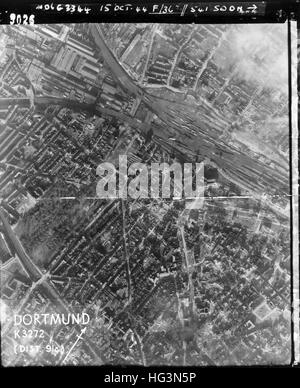 DORTMUND, Germany in an aerial reconnaissance photo on 15 October 1944 showing bomb damage in the area south west - Stock Photo