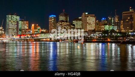 Brisbane, Australia, skyline at night - Stock Photo