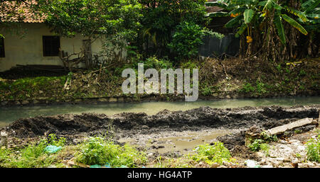 River with mud photo taken in Semarang Indonesia - Stock Photo