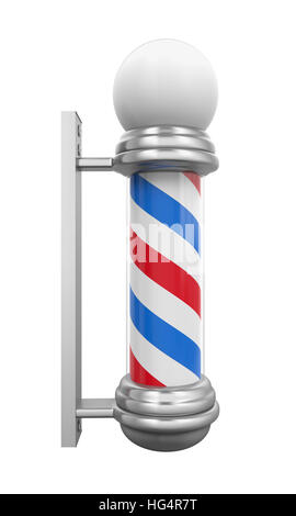 Classic Barber Shop Pole - Stock Photo