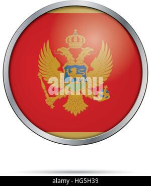 Montenegro flag glass button style with metal frame. - Stock Photo