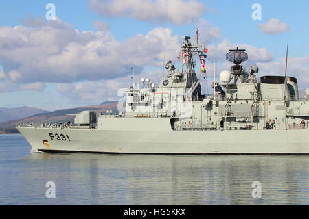 NRP Alvares Cabral (F331), a Vasco da Gama-class frigate of the Portuguese Navy, heads out for Exercise Joint Warrior - Stock Photo