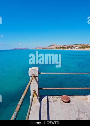 Portugal, Madeira Islands, Porto Santo, Vila Baleira, View of the pier. - Stock Photo