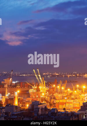 Uruguay, Montevideo, Twilight view towards the harbour. - Stock Photo