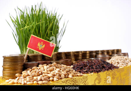 Montenegro flag waving with stack of money coins and piles of wheat and rice seeds - Stock Photo