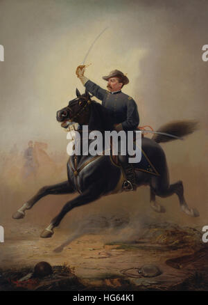 Painting of General Philip Sheridan making his famous ride from Winchester. - Stock Photo