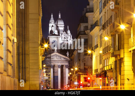 Sacre-Coeur Basilica at night in Paris, Fraance - Stock Photo