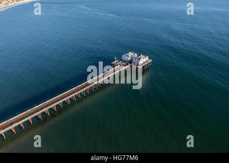 Aerial view of Malibu Pier State Park and the Santa Monica Bay. - Stock Photo