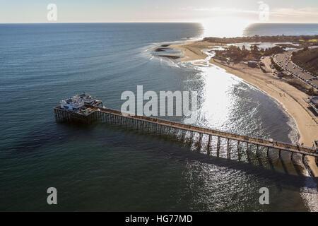 Aerial of Malibu Pier, Surfrider Beach and Malibu Lagoon in Southern California. - Stock Photo