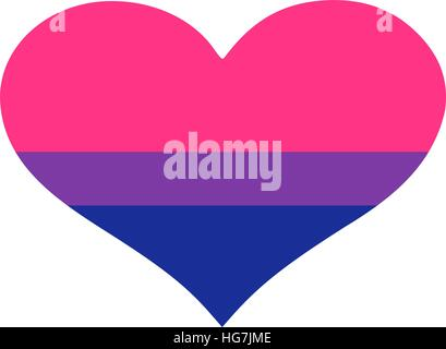 Heart with bisexual pride flag - Stock Photo