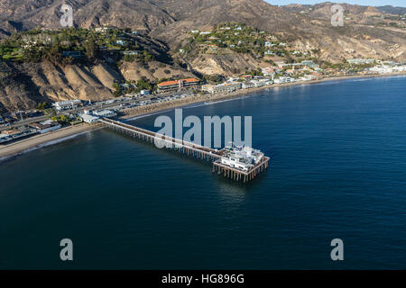 Aerial of Malibu Pier and the Pacific Ocean in Southern California. - Stock Photo
