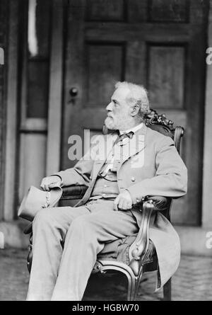 Confederate Army General Robert E. Lee sitting in chair. - Stock Photo