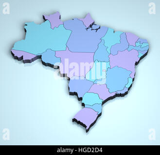 Brazil 3D shape image geographical location - Stock Photo