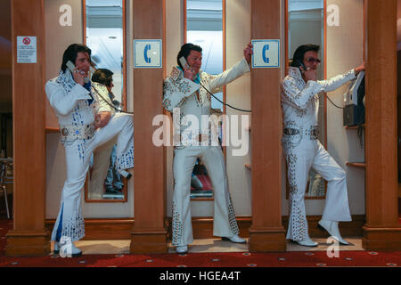 Elvis Presley impersonators pose for a photograph during the European Elvis Championship 2017 - Stock Photo