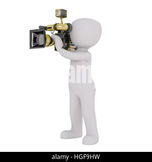 3d Rendering of Cartoon Figure Filming with Motion Picture Camera in front of White Background with Copy Space - Stock Photo