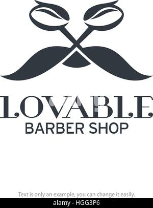Barber shop logo design. Scissors and moustache shaped vector icon. - Stock Photo
