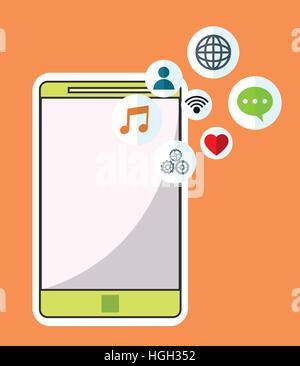 smartphone wireless technology communication social media orange background - Stock Photo
