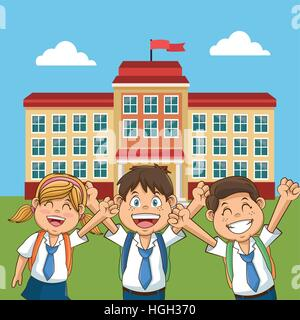 cheerful student school building back yard - Stock Photo