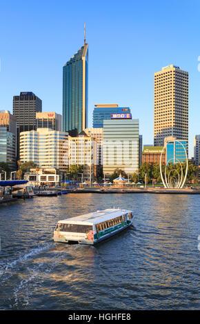 TransPerth ferry entering Elizabeth Quay. Perth, Western Australia - Stock Photo