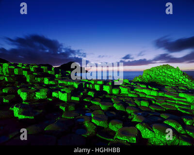 St. Patrick's day at the Giant's Causeway - Stock Photo