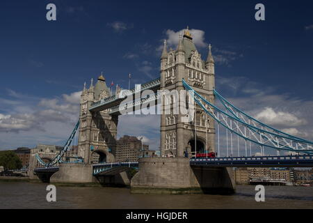 Tower Bridge Southwark London. Tower Bridge is a Victorian bridge and is a bascule and suspension design. Opened - Stock Photo