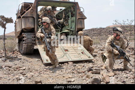 US MARINES IN TRAINING. Cpl. Daniel Mallory, squad leader with 1st platoon, Alpha Company, Battalion Landing Team - Stock Photo