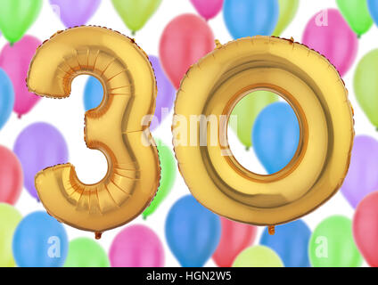 Number 30 Gold Balloon - Stock Photo