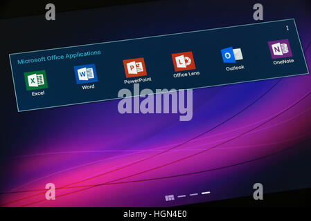 Krynica, Poland - December 19, 2016 - Microsoft Office Application on Android Tablet. Microsoft Office is an office - Stock Photo