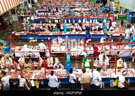 Meat market in the Green Bazaar in Almaty, Kazakhstan - Stock Photo