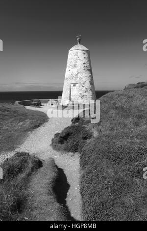 The old Pepper Pot lookout station, Lighthouse Hill, Portreath coastal village, Cornwall County, England, UK - Stock Photo