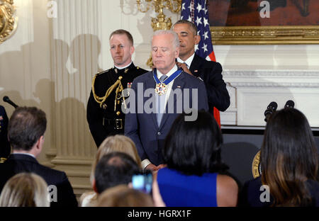 Washington DC, USA. 12th Jan, 2017. United States President Barack Obama presents the Medal of Freedom to US Vice - Stock Photo