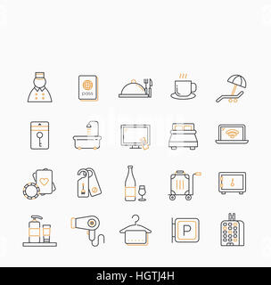 Various line icons related to hotel - Stock Photo