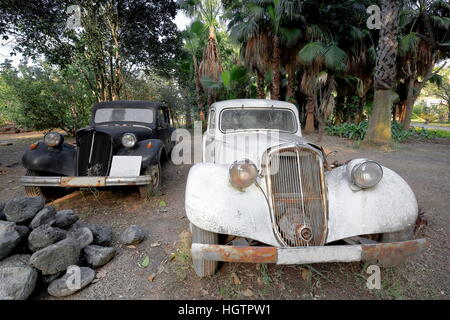 Pair of classical cars abandoned in a the grounds of a lodge beside the Ulupinar river passing past the limits of - Stock Photo
