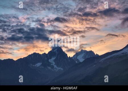 Sunset over the Mont Blanc massif, above Chamonix, France. - Stock Photo