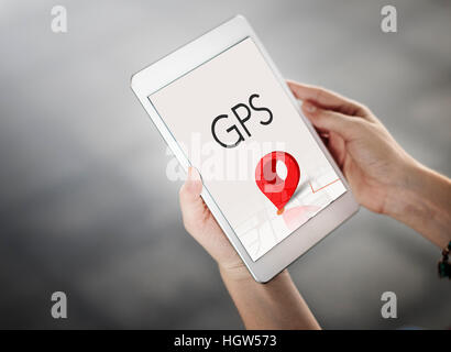 Route Navigation Map Location Journey GPS Concept - Stock Photo