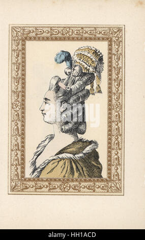 Woman in hairstyle with ringlets, plumes and miniature bonnet called Feelings Returned. Coiffure aux sentiments - Stock Photo
