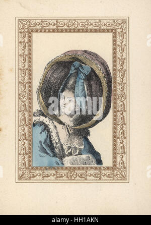 Woman in a round bonnet with ribbon rosette and two ringlets. The bonnet is called a turned-up calash, Caleche retroussee, - Stock Photo