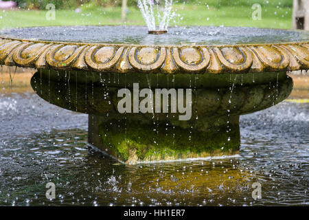 Detail of a circular pond with fountain in the University's Botanical Gardens, Oxford, England. - Stock Photo