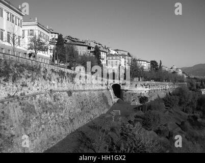 Monochrome Cityscape of Citta Alta, the Upper Town of Bergamo, Northern Italy - Stock Photo
